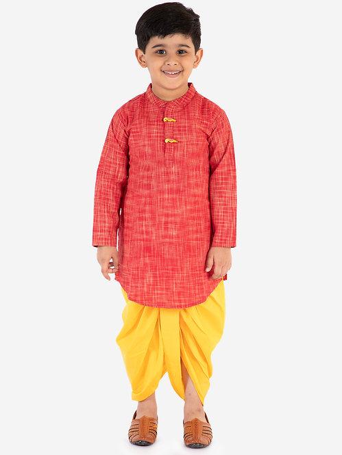 Printed kurta Dhoti set-Red with Yellow