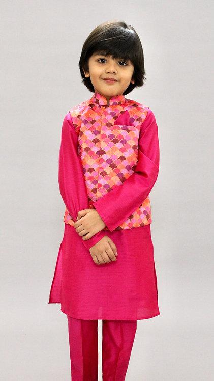 Fuchsia Nehru Jacket Set