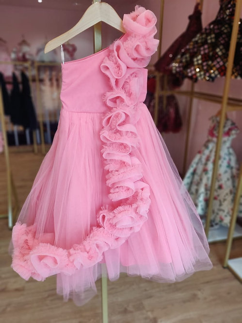 Candy Frill Off-Shoulder Gown