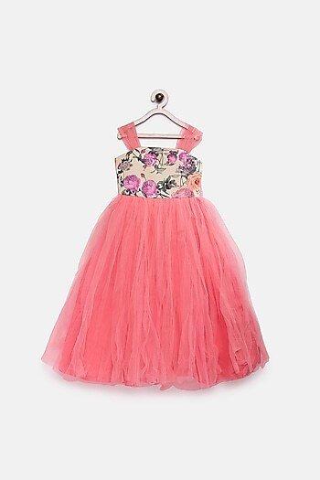 Peach Printed Net Gown