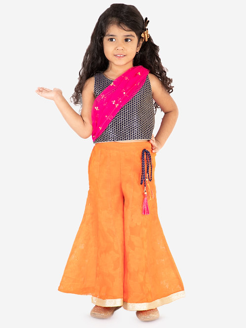 embroidered top with palazzos set- Orange
