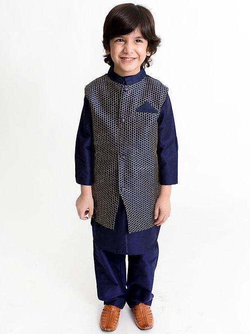 Stylish Boys Kurta Pyjama Set With Printed  Jacket -Navy Blue