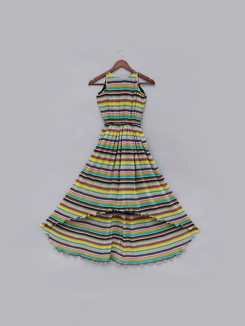 Pleated Printed High Low Dress