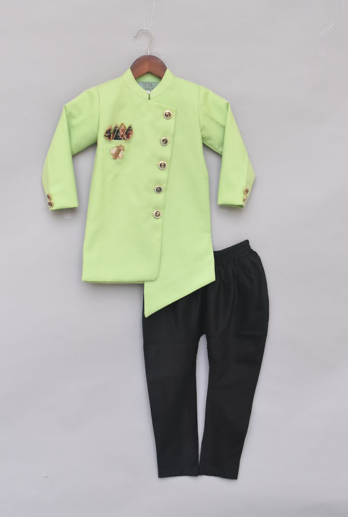 Lime Green Ajkan with Pant