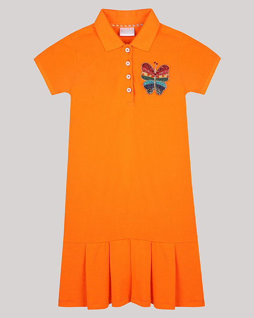 Polo Dress With Shy Butterfly Motif
