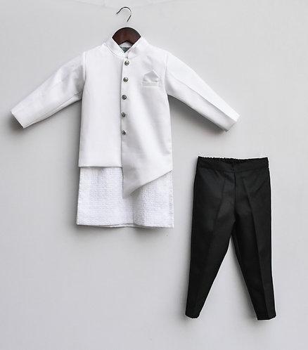 White Jacket with Kurta & Pant