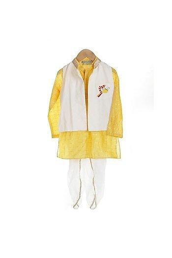Yellow Kurta Set With Embroidered Jacket