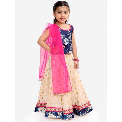 Stylish Girls Ghaghra Choli With Dupatta Set-Blue