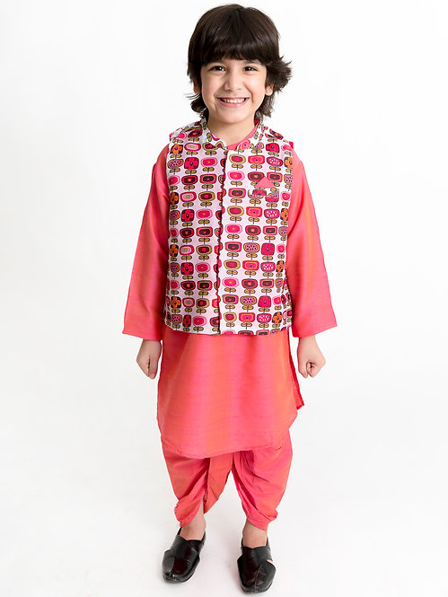 Kurta Dhoti With Jacket Set-Red