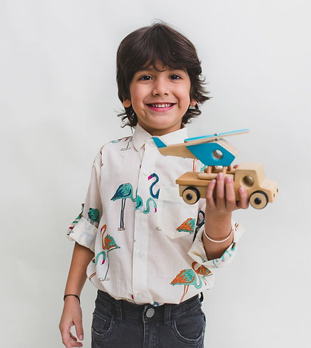 Cotton Regular Wear Kids Casual Printed Shirt