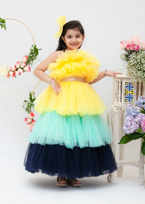 Yellow Aqua and Blue Frill Gown