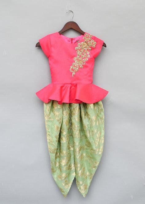 Pink Peplum Top with Dhoti