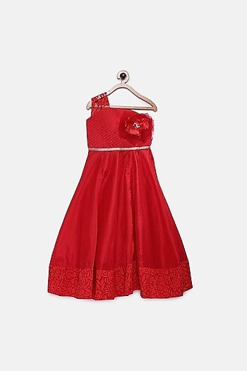 Red Ankle Length Quilted Gown