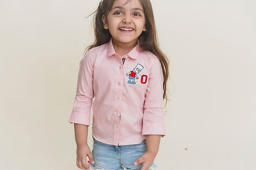 Pink Patch Embroidered Shirt
