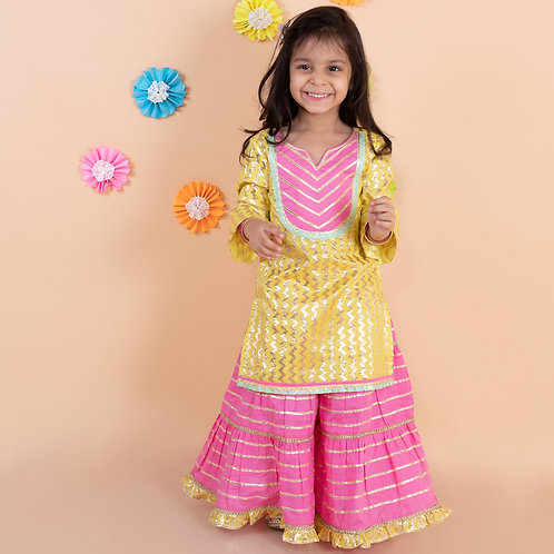 Yellow kurti with baby pink sharara set