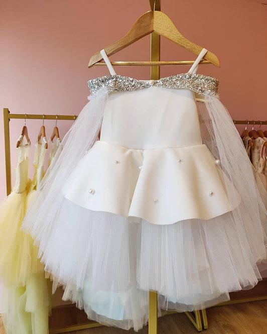 White Neoprene  Off Shoulder Dress