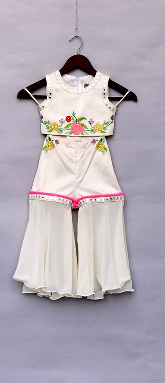 White Embroidery Top with Pant