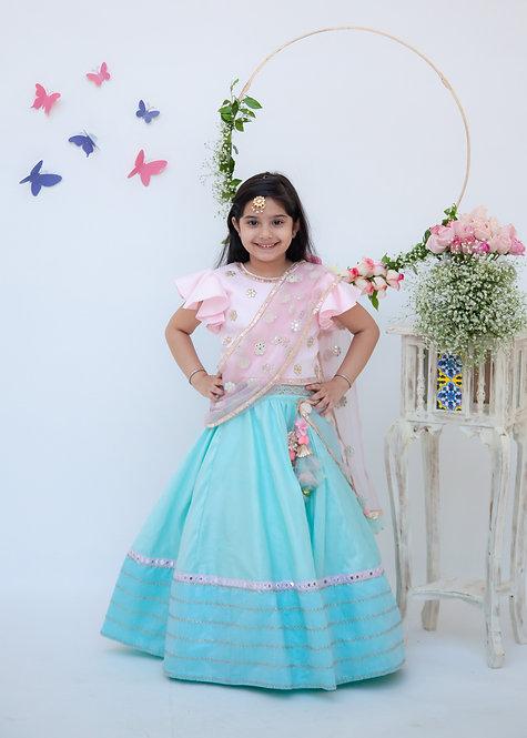 Blue Lehenga with Pink Choli and Mirror Boti Dupatta