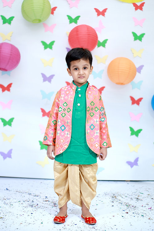 RS-Green kurta with multi coloured sherwani and golden dhoti