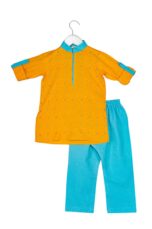 Cross Mustard Embroidered kurta and pyjama set