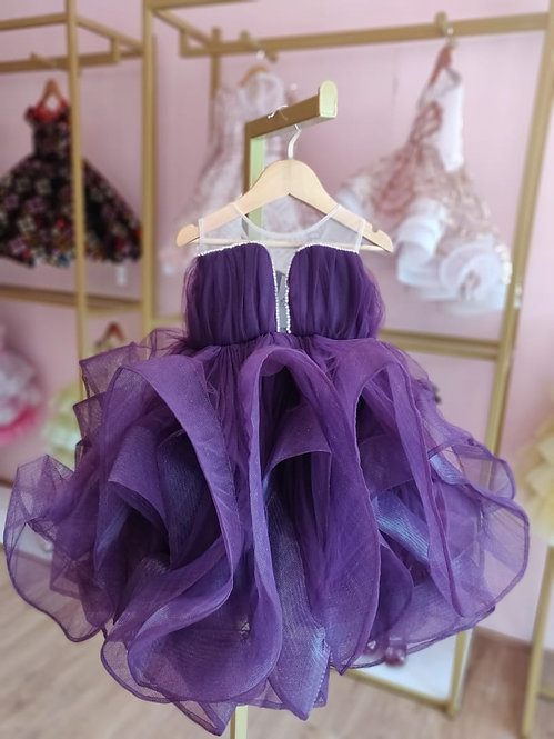 Purple Ruffle Gown with Silver Bow