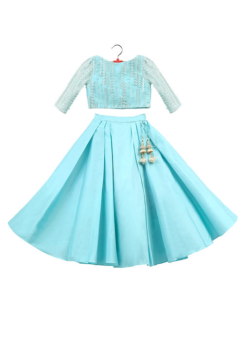 Light Blue Embroidered Top And Skirt