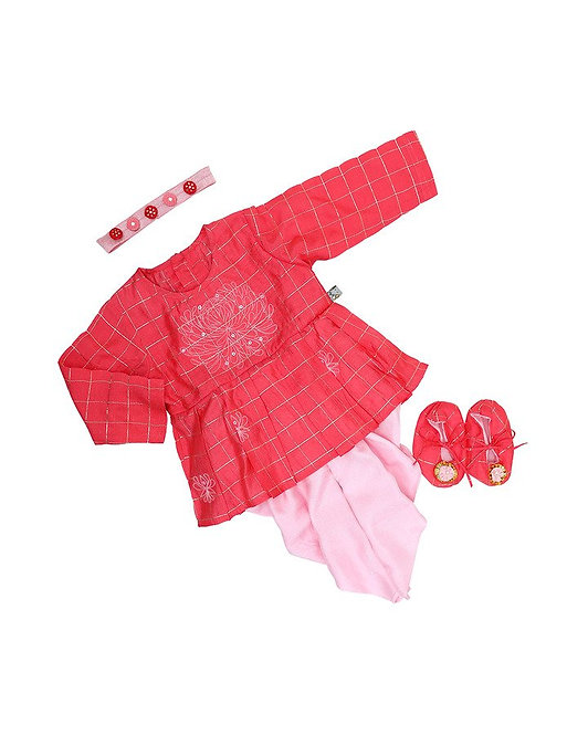 Red & Pink Embroidered Dhoti Set