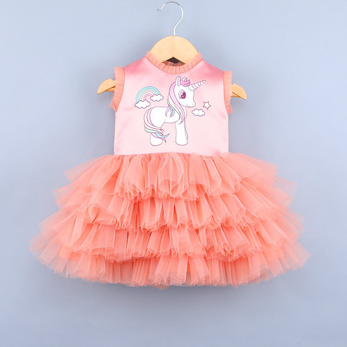Rainbow Unicorn Peach Dress