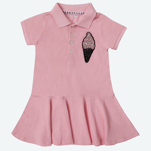 Polo Dress with Ice Cream and Drop-Waist Silhouette