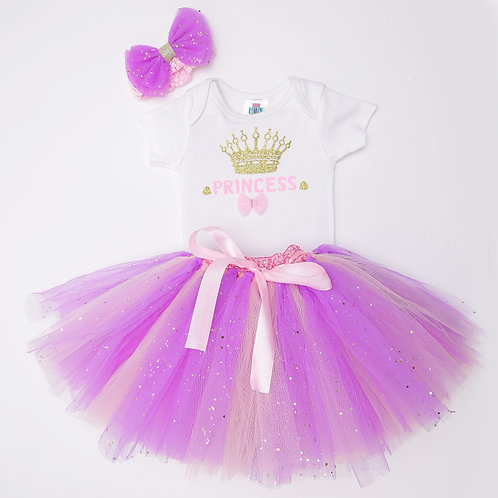 PIE Patch Detailed Onesie With Tutu Skirt &  Bow Headband - White & pink