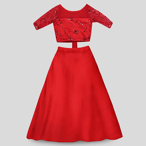 Bright Red Embroidered Blouse and Skirt