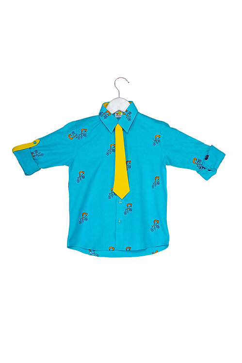 Bus Roll up shirt with tie Rich
