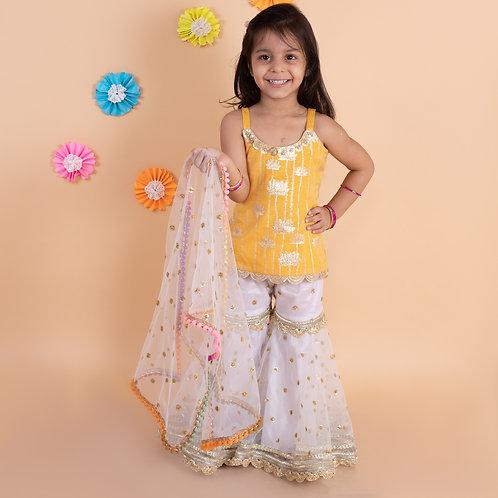 Orange golden lotus top with white embroidered sharara dupatta set