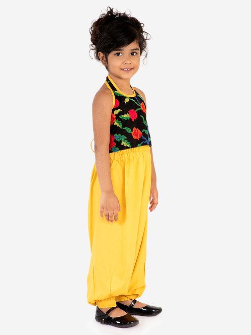 Printed Top with Harem Pants- Yellow