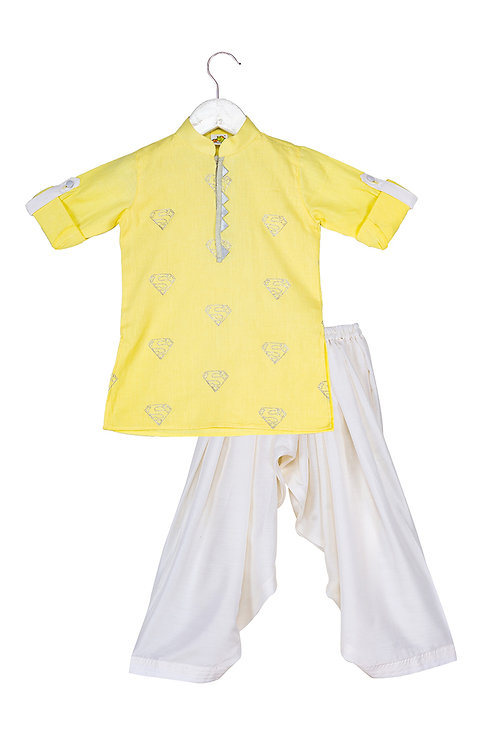 RS-Silver 'S' Embroidery Lemon Kurta Front with Triangle Trimmings on plack