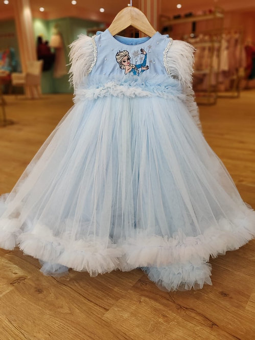 Elsa Embroidered Gown With Detachable Cape