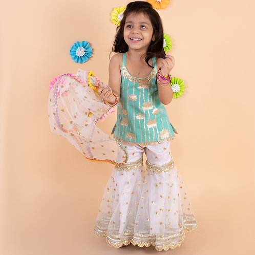Turquoise golden lotus top with white embroidered sharara dupatta set
