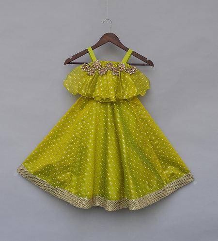 Green Foil Print Dress