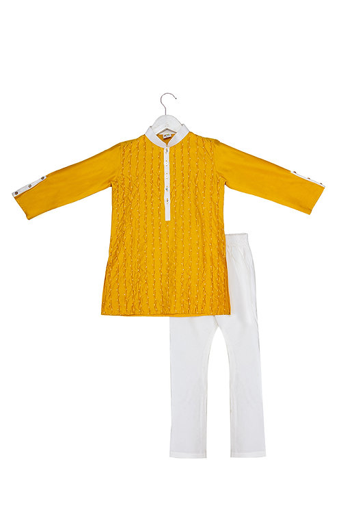 Dot Mustard Pintucked and Embroidered Kurta Churidar