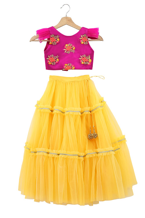 Pink & Yellow Embroidered Top And Skirt