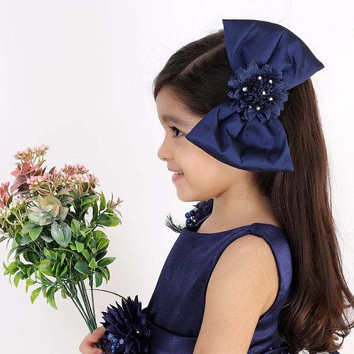 Blue Tafetta Bow Hair Clip