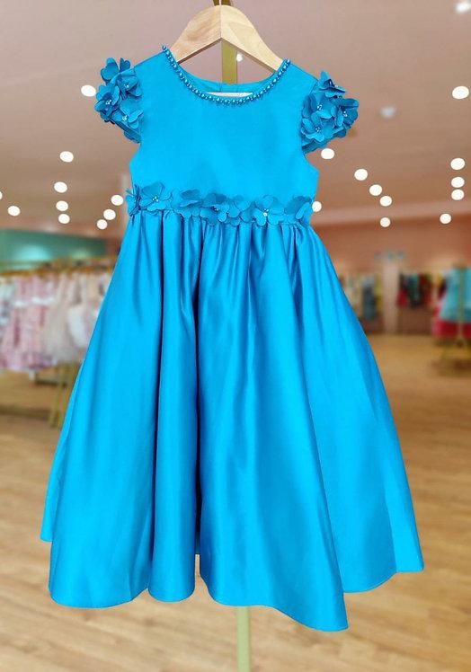 RS-Elegant Peacock Blue Dress