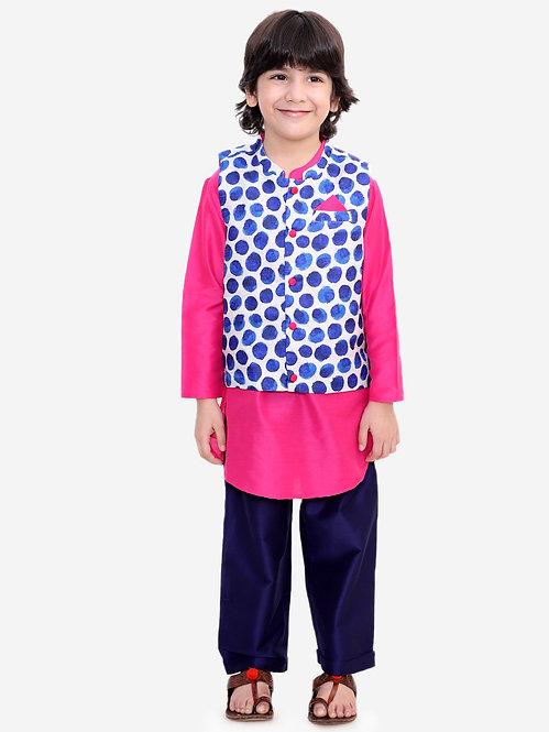 Stylish Boys Kurta Pyjama Set With Printed Jacket -Purple