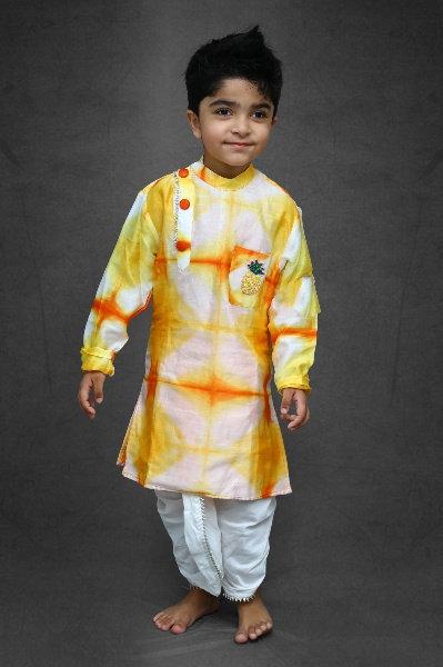 Tie and Dyed Orange Yellow Kurta with Dhoti