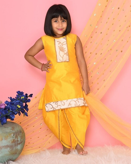 Yellow Embroidered Yoke Kurta And Dhoti Pants With Dupatta- Set Of Three