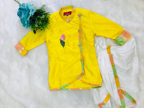 Embroidered Half Jacket Kurta And Pyjama