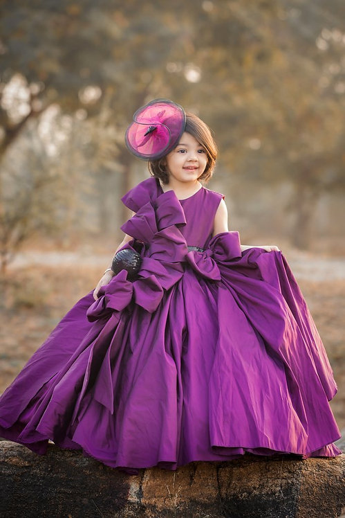 Purple Structured Bow Tafetta Gown