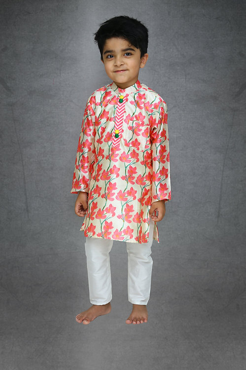 Flower Printed Kurta with Chudidar