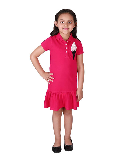 Polo Dress With Frills At Hem And Ice Cream Motif