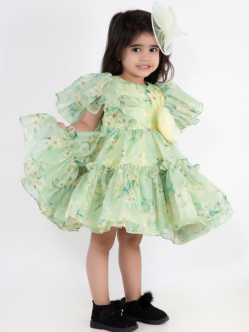 Green Printed Ruffle Dress With Hair Accessory